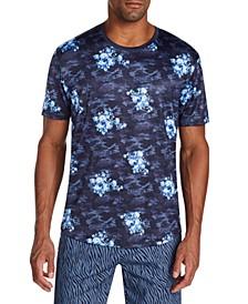 Men's Slim-Fit Stretch Floral Camo Short Sleeve T-Shirt