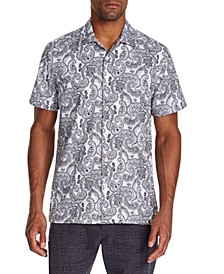Men's Slim-Fit Performance Stretch Paisley Short Sleeve Camp Shirt
