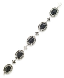 """Marcasite and Faceted Onyx Oval 7.25"""" Link Bracelet in Sterling Silver"""