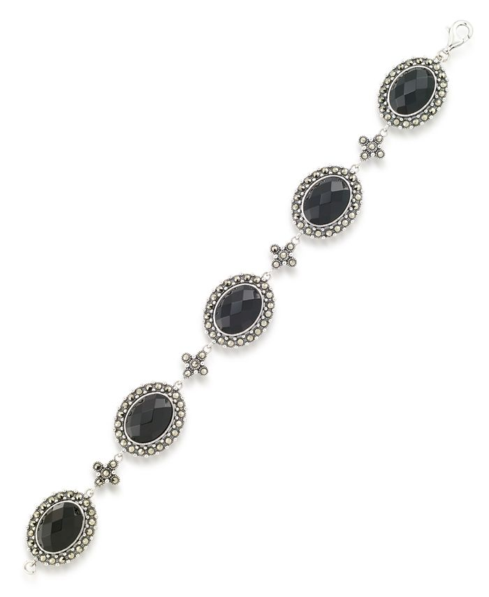 """Macy's - Marcasite and Faceted Onyx Oval 7.25"""" Link Bracelet in Sterling Silver"""