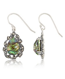 Marcasite and Abalone Doublet Teardrop Wire Earrings in Sterling Silver