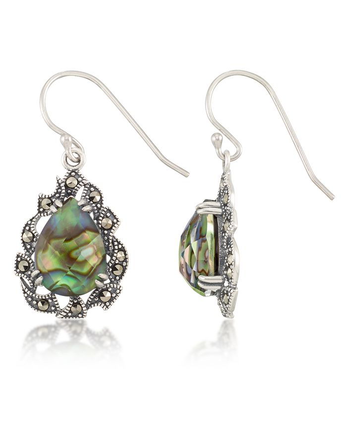 Macy's - Marcasite and Abalone Doublet Teardrop Wire Earrings in Sterling Silver