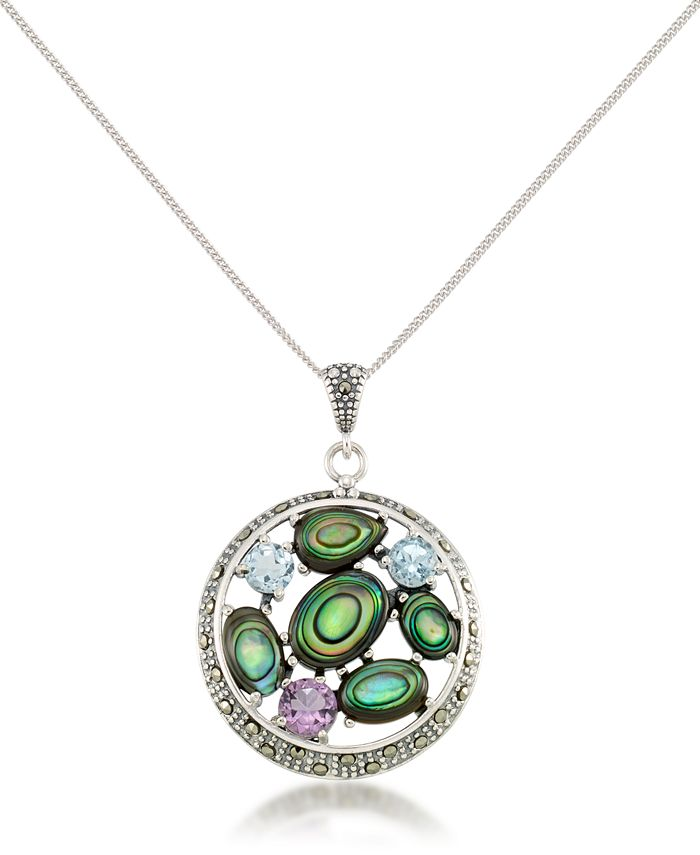 """Macy's - Marcasite, Amethyst (3/8 ct. t.w.), Abalone (5-1/3 ct. t.w.) and Blue topaz (5/8 ct.t.w.) Round Pendant + 18"""" Chain in Sterling Silver"""