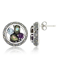 Marcasite, Amethyst (3/8 ct. t.w.) , Abalone (1-1/2 ct. t.w.) and Blue topaz (5/8 ct. t.w.) Round Post Earrings in Sterling Silver