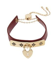 Heart Charm Leather-Look Adjustable Bracelet