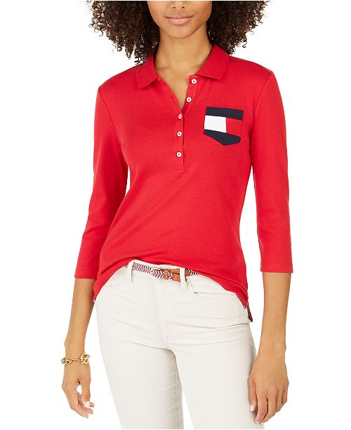 Tommy Hilfiger Cotton Flag Pocket Polo Shirt, Created For Macy's