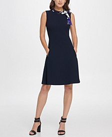 Pleated Chiffon Sleeve V-Neck Sheath Dress