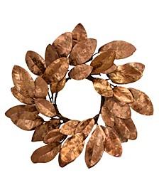 """14"""" D Gilded Magnolia Wreath"""