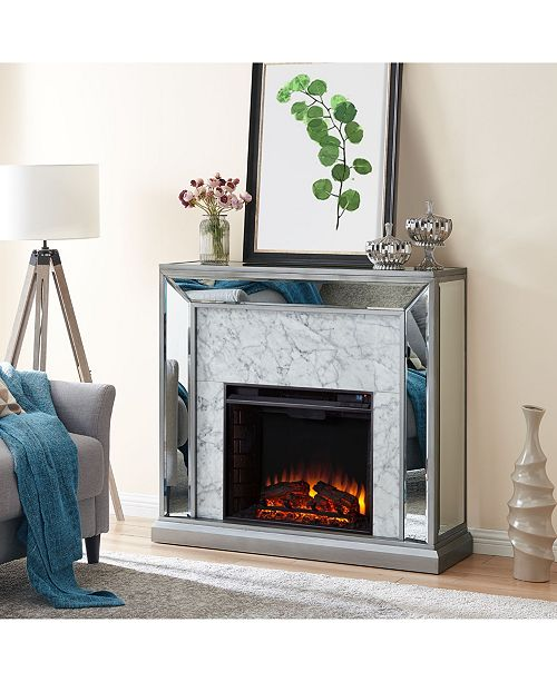 Southern Enterprises Audrey Faux Stone Mirrored Electric Fireplace