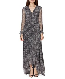 Snake-Embossed Wrap Maxi Dress