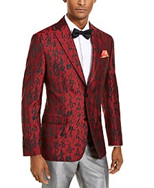 Orange Men's Slim-Fit Red/Black Abstract Evening Jacket