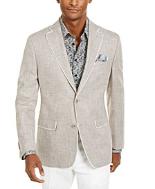 Orange Men's Slim-Fit Oatmeal Textured Sport Coat