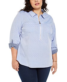 Plus Size Polka Dot Zip-Front Cotton Shirt