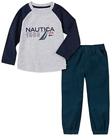 Little Boys 2-Pc. Colorblocked Logo T-Shirt & Twill Joggers Set