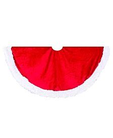 44.5-Inch Red Velvet Tree skirt with White Trim