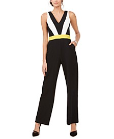 Petite Colorblocked V-Neck Jumpsuit