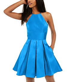 Juniors' Halter Fit & Flare Dress