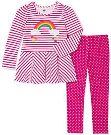 Toddler Girls 2-Pc. Rainbow Tunic & Polka-Dot Leggings Set