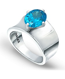 Light Blue Zircon Prong Set Oval Stone on Polished Cigar Band in Fine Silver Plate