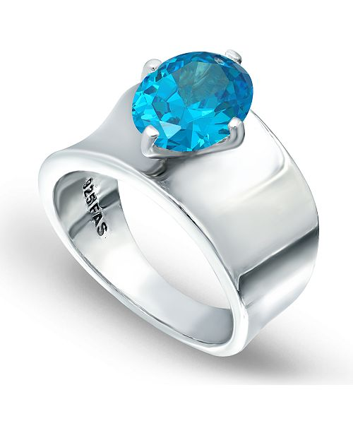 Macy's Light Blue Zircon Prong Set Oval Stone on Polished Cigar Band in Fine Silver Plate