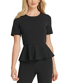 Contrast Back-Zip Peplum Top