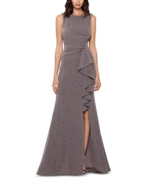 Cascade-Front Glitter Gown