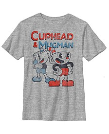 Cuphead Big Boys and Mugman Dynamic Duo Vintage-Like Short Sleeve T-Shirt