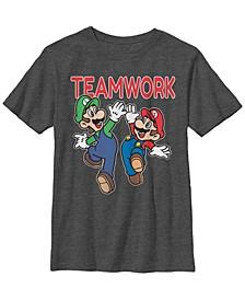 Nintendo Big Boy's Super Mario Luigi Teamwork High Five Classic Short Sleeve T-Shirt