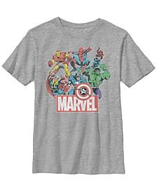Marvel Big Boys Avengers Team Retro Comic Short Sleeve T-Shirt
