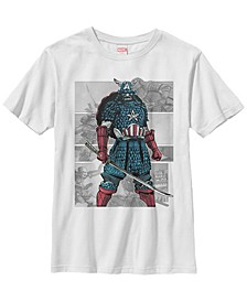 Marvel Big Boy's Captain America Samurai Comic Scenes Short Sleeve T-Shirt
