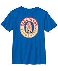 Star Wars Big Boy's R2-D2 Logo 1977 Left Chest Back Style B1 Short Sleeve T-Shirt