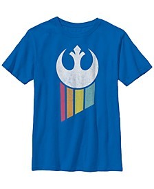 Star Wars Big Boy's Rebel Rainbow Logo Short Sleeve T-Shirt