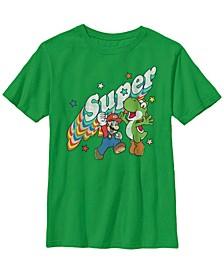 Nintendo Big Boy's Super Mario Yoshi Mario Rainbow 3D Star Short Sleeve T-Shirt