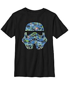 Star Wars Big Boy's Stormtrooper Hawaiian Print Helmet Short Sleeve T-Shirt
