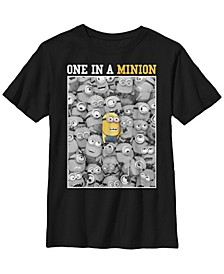 Despicable Me Big Boy's Minions One In A Minion Color Pop Portrait Short Sleeve T-Shirt