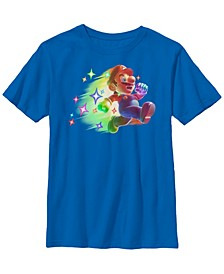 Nintendo Big Boy's Super Mario Action Pose Neon Portrait Short Sleeve T-Shirt