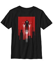 Marvel Big Boy's Iron Man In Flight Deco Art Style Short Sleeve T-Shirt