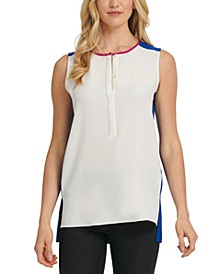 Half-Placket-Front Contrast-Back Top