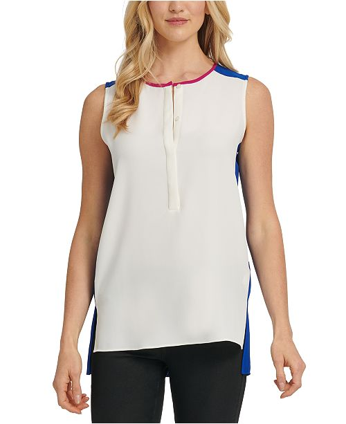 DKNY Half-Placket-Front Contrast-Back Top