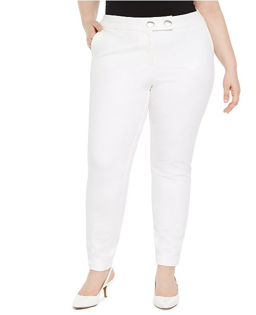 Alfani Plus Size Extended Tab Skinny Pants, Created for Macy's