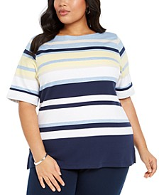 Plus Size Striped Top, Created For Macy's