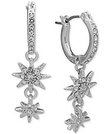 Silver-Tone Pavé Star Huggie Hoop Earrings