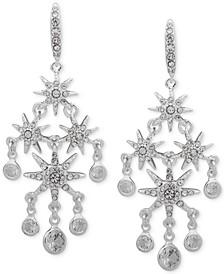 Silver-Tone Crystal Star Chandelier Earrings
