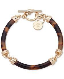 Gold-Tone Padlock & Tortoise-Look Segment Flex Bracelet