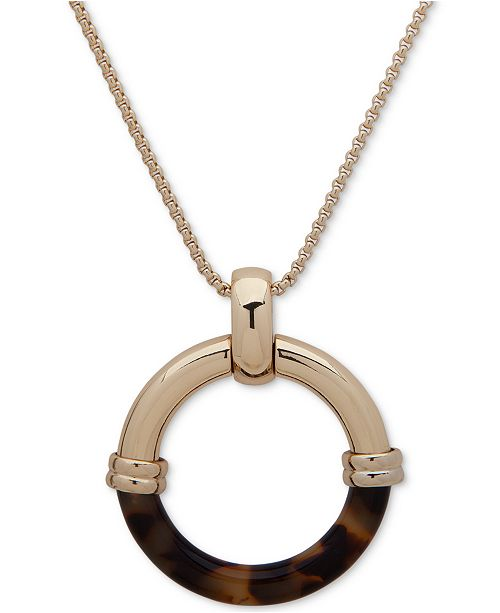 "Lauren Ralph Lauren Gold-Tone & Tortoise-Look Circle Pendant Necklace, 30"" + 3"" extender"