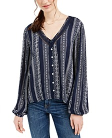 Juniors' Crochet-Trim Blouse