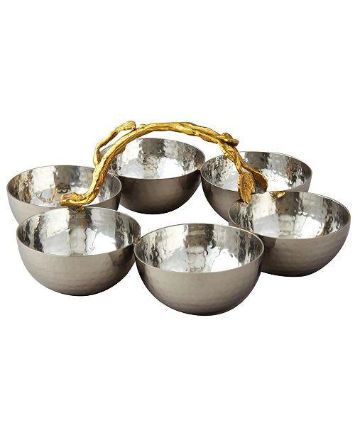 Leeber Gold tone Vine Hammered Stainless Steel 6 Bowl Server