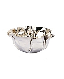 "9.5"" Round Stainless Steel Wavy Design Serving Bowl"