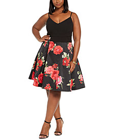 B Darlin Trendy Plus Size Floral Mesh Dress