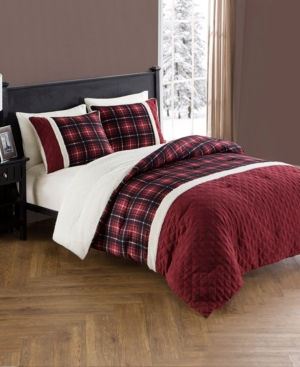 Barry Plaid Sherpa 3-Piece Reversible King Comforter Set Bedding